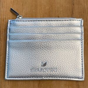 Swarovski Silver Pebbled Leather Card/ID Holder